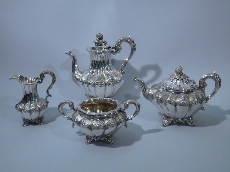 Victorian English London Sterling Silver Tea Coffee Set