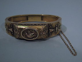 Antique Victorian American 14 Kt Gold Bangle C 1890