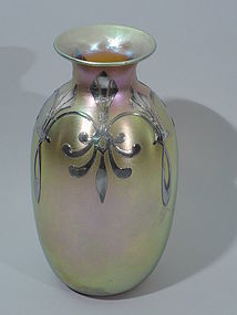 Quezal Gold Iridescent Glass Vase with Silver Overlay