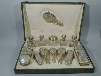 - Art Nouveau Vanity Set In Original Traveling Case