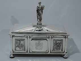 Architectural Coffer Box - English Sterling Silver 1930