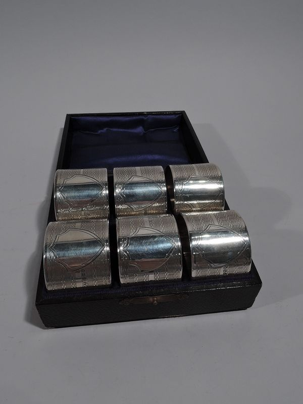 Set of 6 English Art Deco Sterling Silver Napkin Rings