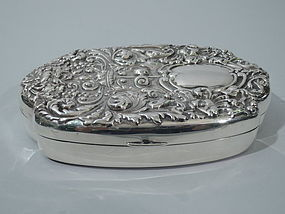 Antique Sterling Silver Box in Renaissance Style C 1890