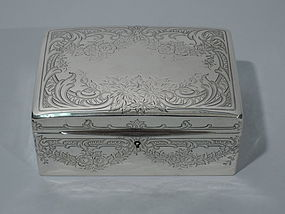 Antique Sterling Silver Jewelry Box C 1900