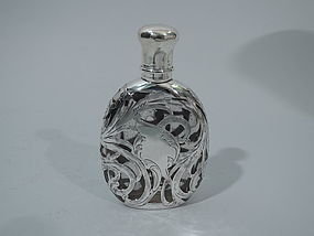 Art Nouveau Glass Flask with Silver Overlay C 1900