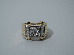 Modern 14K Gold and Platinum Ring C 1965