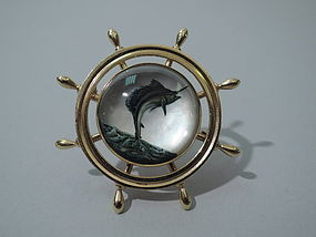 14K Gold and Essex Crystal Brooch with Marlin