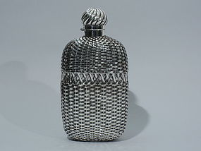 Large Gorham Flask with Basket Weave Silver Overlay