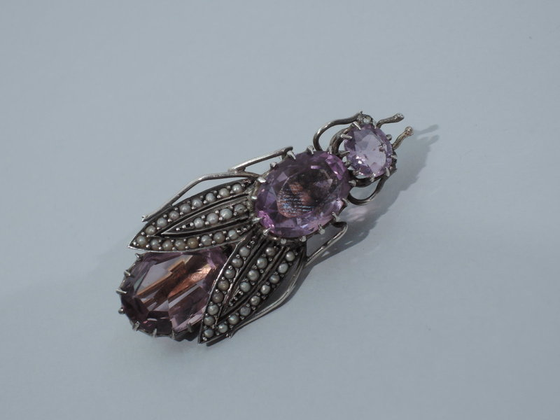 Antique Bug Brooch with Amethysts and Pearls C 1880