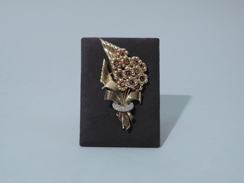 Retro Floral Brooch - 14K Gold, Sapphires and Diamonds