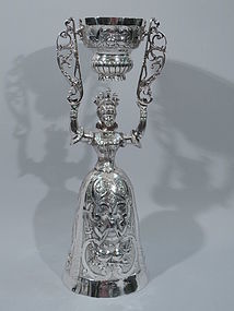 Large Wager Cup with Queen - German Silver C 1880