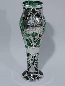 Art Nouveau Emerald Glass Vase with Silver Overlay