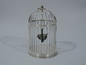 Mario Buccellati Sterling Silver and Jade Bird Cage