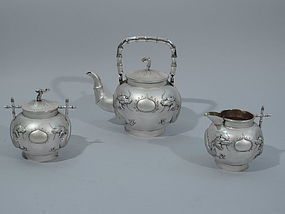 Chinese Export Silver Tea Set - Dragon & Bamboo C 1900
