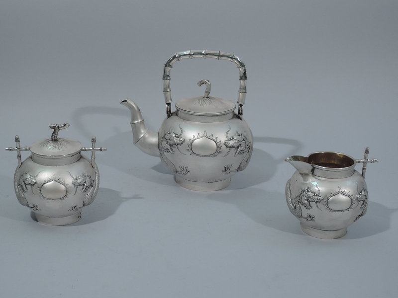 Chinese Export Silver Tea Set with Dragon & Bamboo