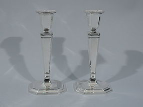 Pair of Tiffany Sterling Silver Candlesticks C 1945