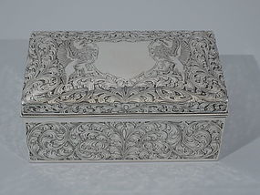 Antique Tiffany Sterling Silver Casket Jewelry Box