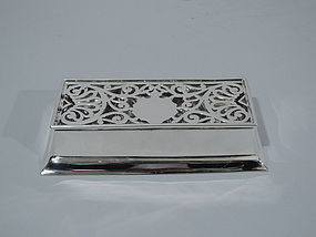 Antique Sterling Silver Postage Stamp Box by Graff, Washbourne & Dunn