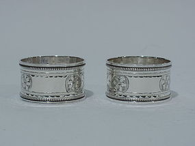 Pair of English Sterling Silver Napkin Rings 1923