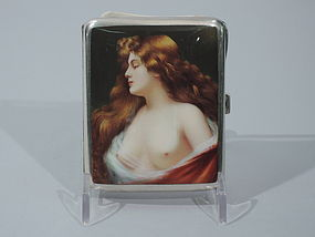 European Silver & Enamel Cigarette Case with Alluring Lorelei C 1905