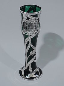 Alvin Emerald Glass Vase with Silver Overlay C 1910