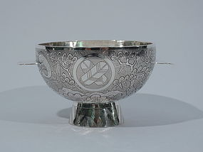 Chinese Export Sterling Silver Footed Bowl