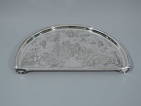 American Sterling Silver High Chair Tray by Kerr - Mother Goose Motif