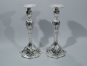 Pair of Caldwell Sterling Silver Candlesticks - Tall, Pierced & Fancy