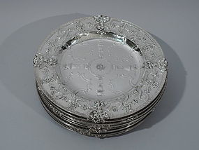 Fabulous Renaissance Sterling Silver Plates by Tiffany - Set of 12