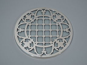 American Clear Glass Trivet with Silver Overlay