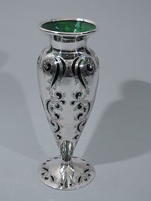 Antique Emerald Glass Vase with Silver Overlay C 1900