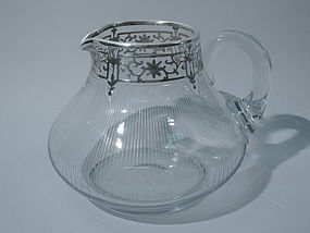 American Clear Glass Water Jug with Silver Overlay C 1910