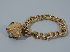 Retro 1960s 18K Gold Bracelet with Large Charm