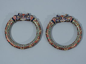 Pair of 22K Gold and Enamel Indian Bracelets - Jaipur C 1880