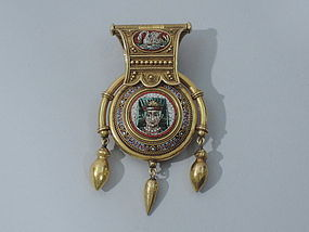 Italian Micro Mosaic Egyptian Revival Pendant by Vatican Workshop