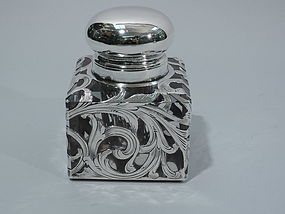 Art Nouveau Inkwell with Silver Overlay by Black, Starr & Frost C 1890