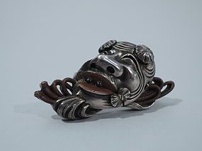 Shakudo Face Brooch - Japanese C 1880