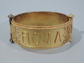 Antique Italian 18K Gold Roma Cuff Bracelet - Grand Tour Memento