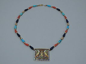 Egyptian Revival 15K Gold and Enamel Pendant C 1950