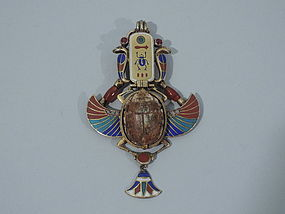 Egyptian Revival 18K Gold and Enamel Scarab Pendant C 1880