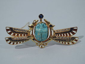 Egyptian Revival 14K Gold and Enamel Brooch C 1920