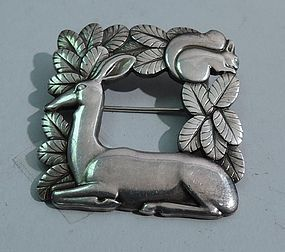 Georg Jensen Sterling Silver Brooch No. 318 with Deer and Squirrel