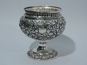 Antique Silver Footed Bowl - Baltimore Style Floral Repousse C 1850