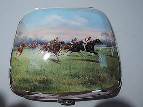 Antique Horse Racing Cigarette Case - German Silver and Enamel