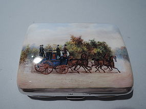 Coaching Days Cigarette Case - English Sterling Silver and Enamel 1888