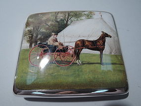 Victorian Sterling Silver & Enamel Cigarette Case with Carriage 1898
