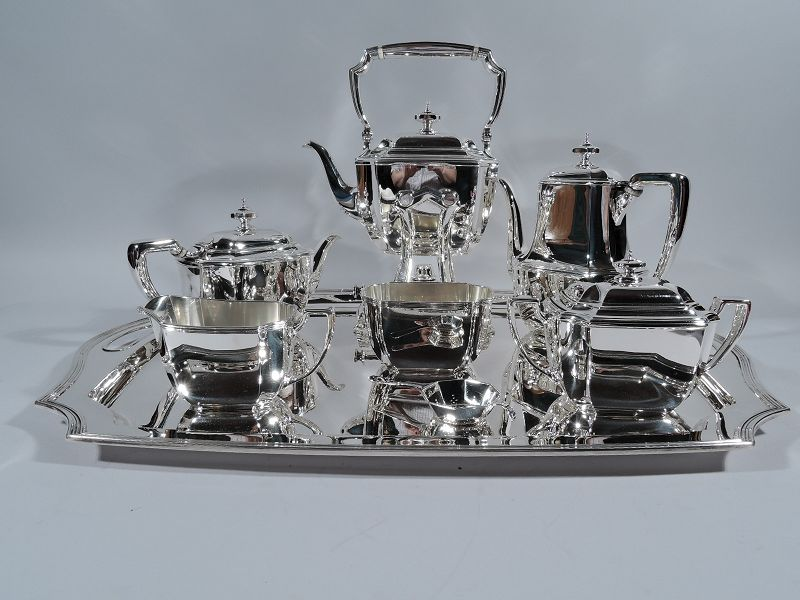 Desirable Tiffany Hampton Sterling Silver Tea & Coffee Set on Tray