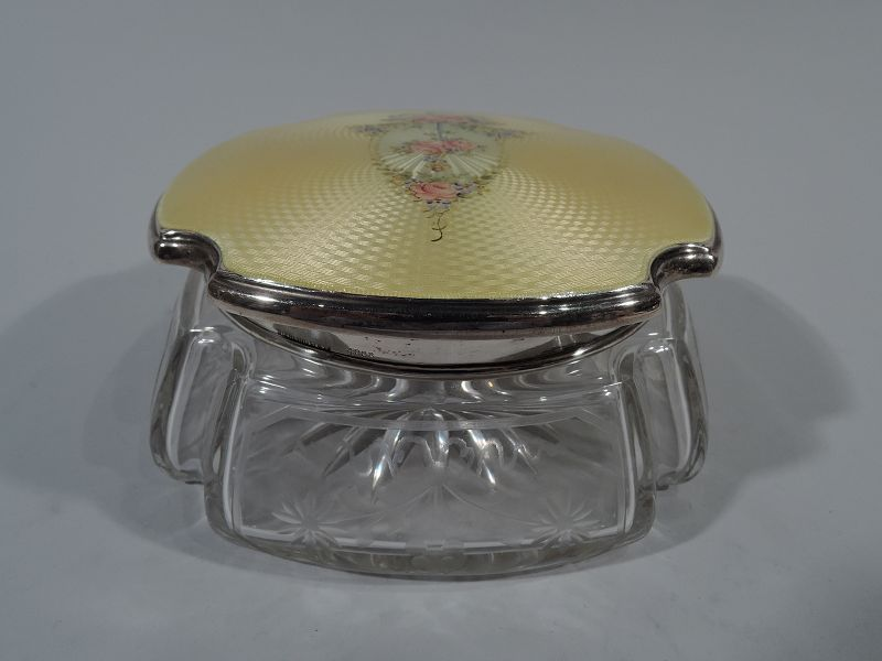 American Edwardian Sterling Silver & Enamel Powder Jar by Thomae