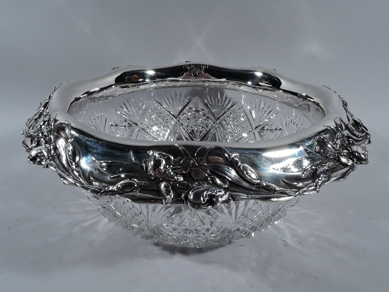 Reed & Barton American Brilliant-Cut Glass Sterling Silver Punch Bowl