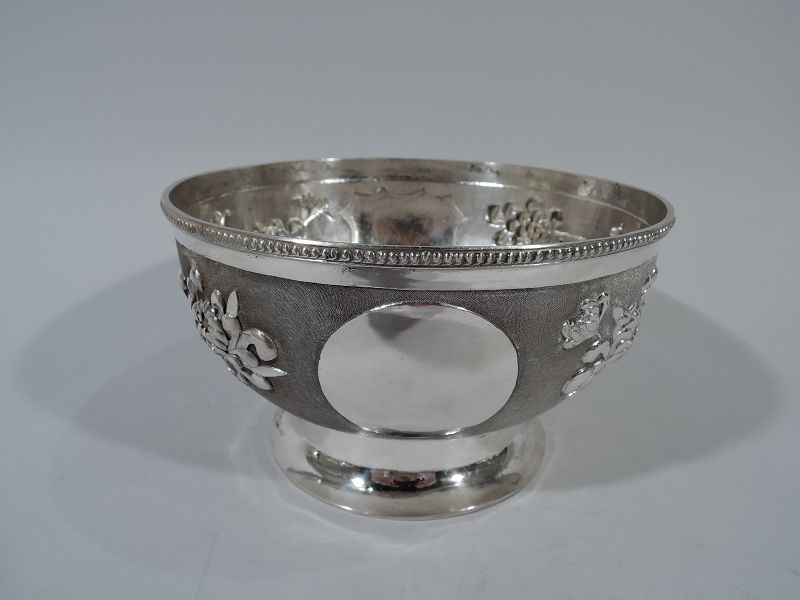 Beautiful Chinese Silver Bowl with Chrysanthemums